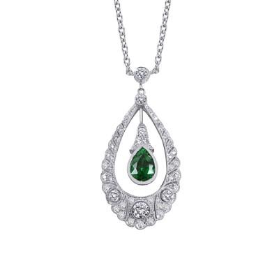 Platinum Diamond and Tsavorite Pendant