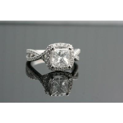 Ascher cut diamond engagement ring.