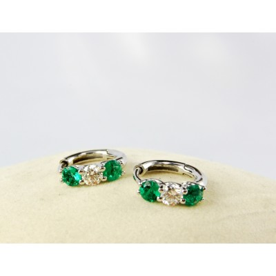18K White Gold Diamond and Genuine Emerald loop earrings