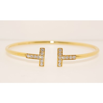 18K Yellow Gold Diamond T Bangle