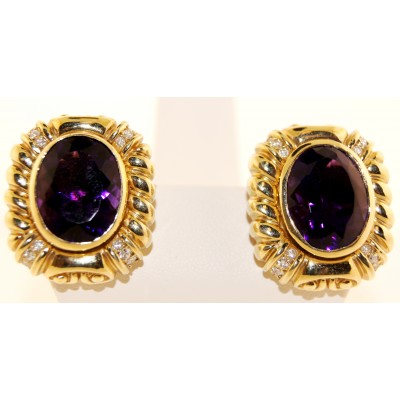 Amethyst Earrings 14K Yellow Gold