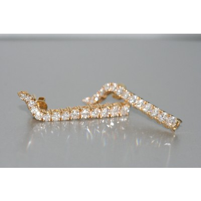 A Pair of 18 Karat Yellow Gold Diamond Earrings