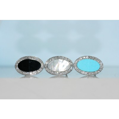 Turquoise, Mother of Pearl and Onyx Earrings