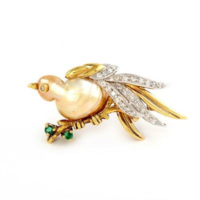 Yellow Gold Bird Pin