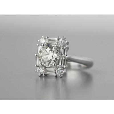 Platinum diamond engagement ring.