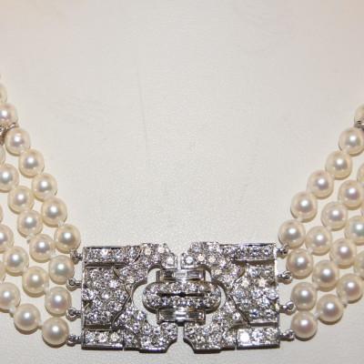 Platinum and Diamond Vintage Pearl Necklace.