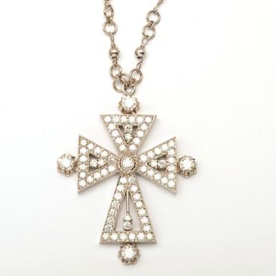 18K Diamond White Gold Cross Necklace