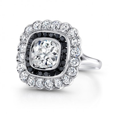 Platinum Handmade Art Deco Style Diamond Ring