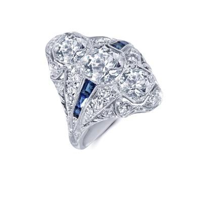 Platinum Art Deco Diamond and Sapphire Ring