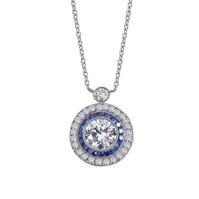 Platinum Diamond and Sapphire Necklace
