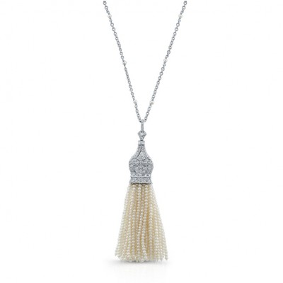 18K White Gold Pearl Tassle Necklace