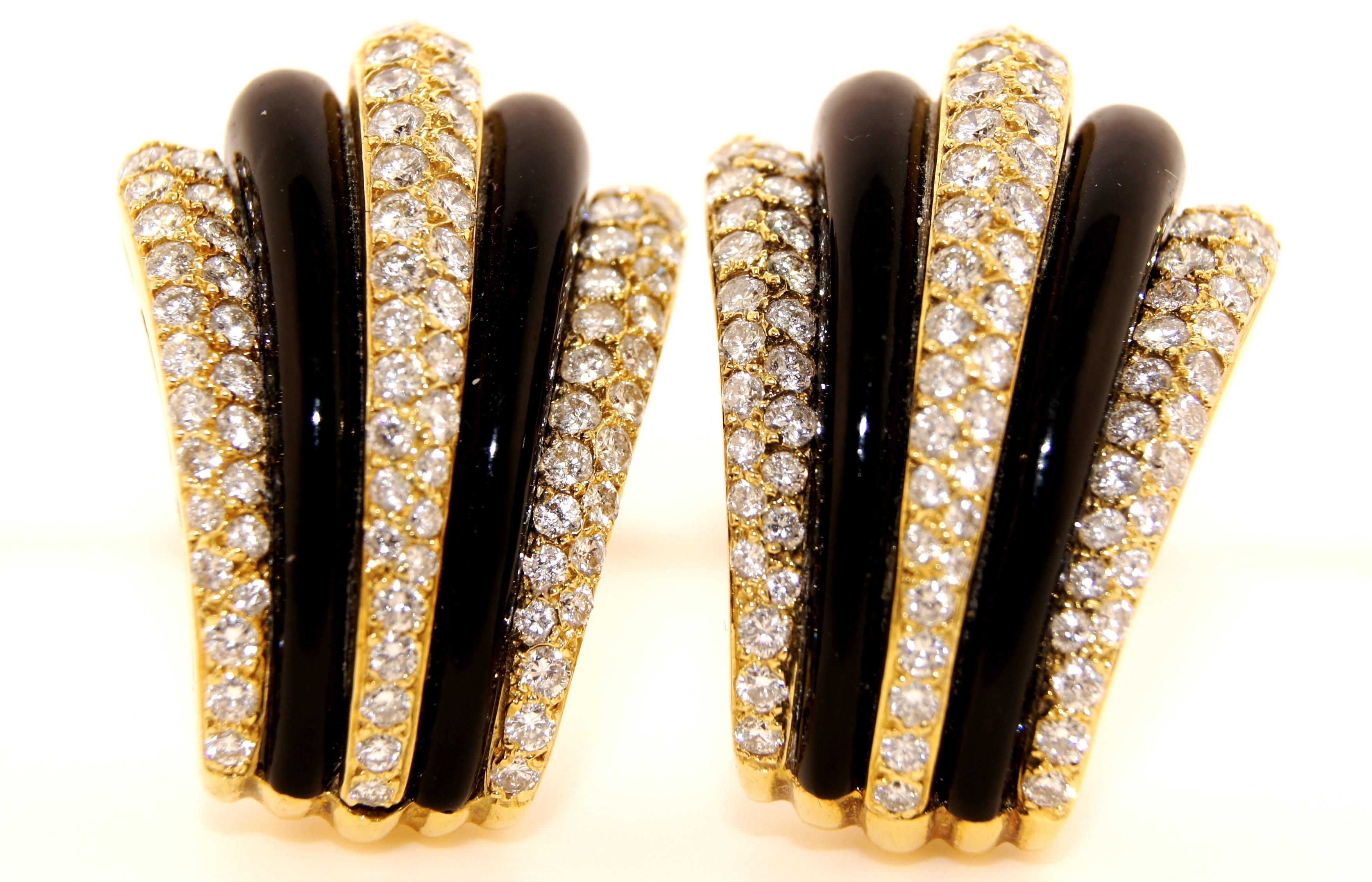 18K Yellow Gold Diamond and Onyx Earrings