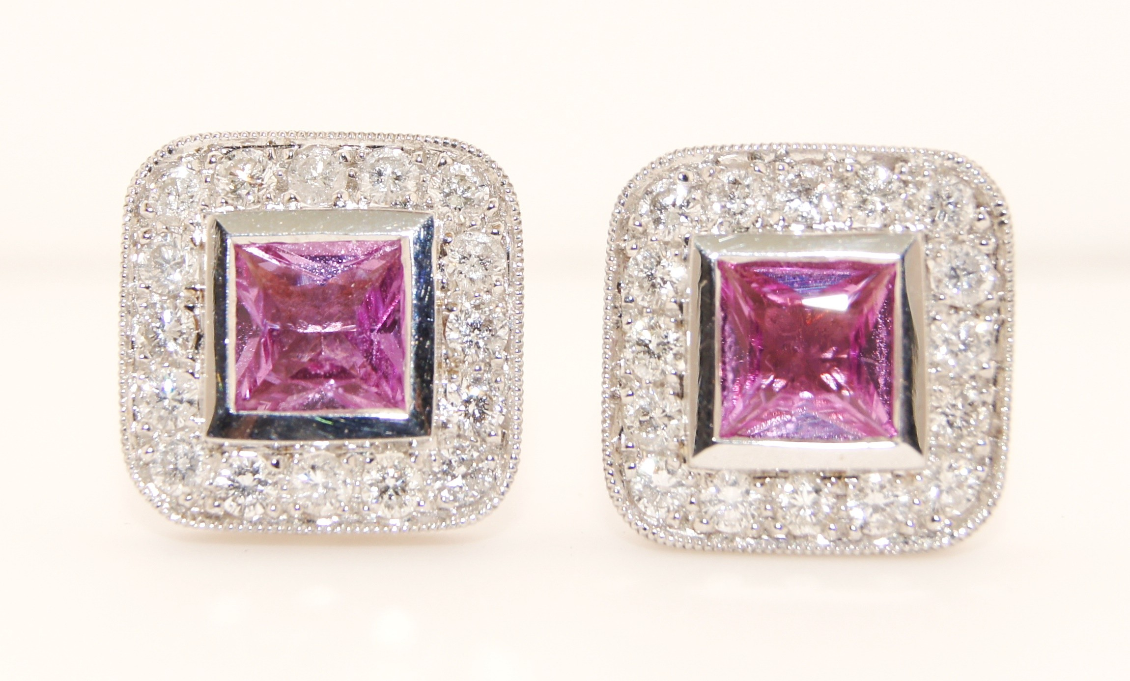 18K White Gold Diamond and Pink Sapphire Earrings