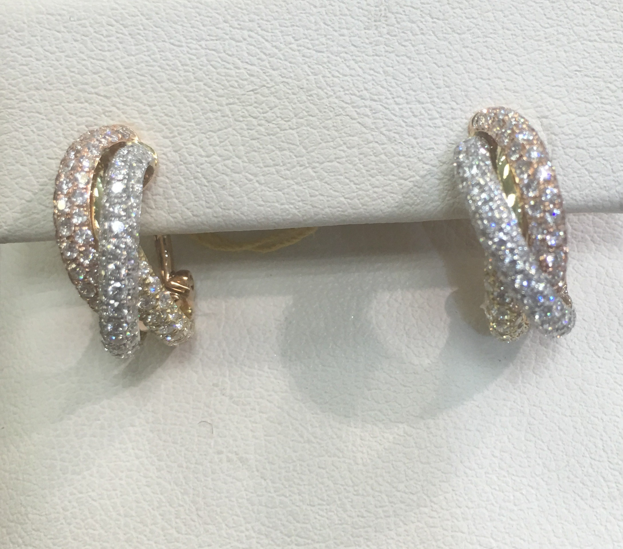 18 karat tricolor diamond earrings