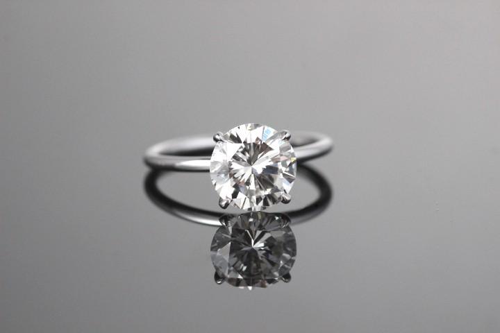 Platinum solitaire diamond ring.