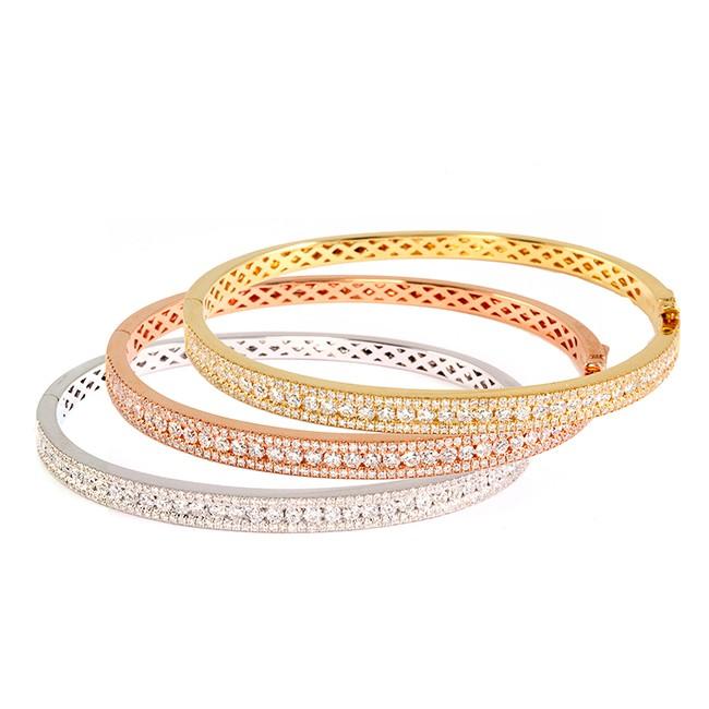 Rose, White, and Yellow Gold Diamond Bangles