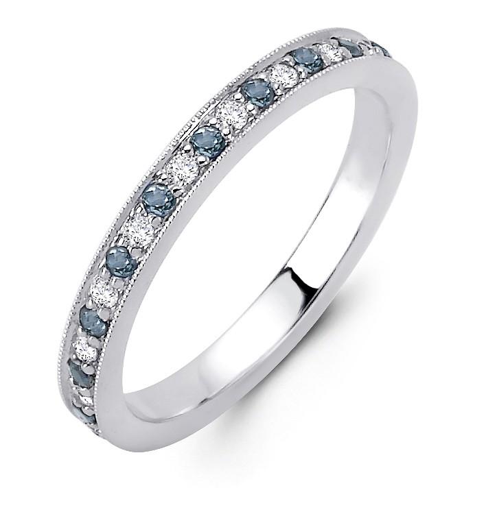 18K White Gold Diamond and Aquamarine Band