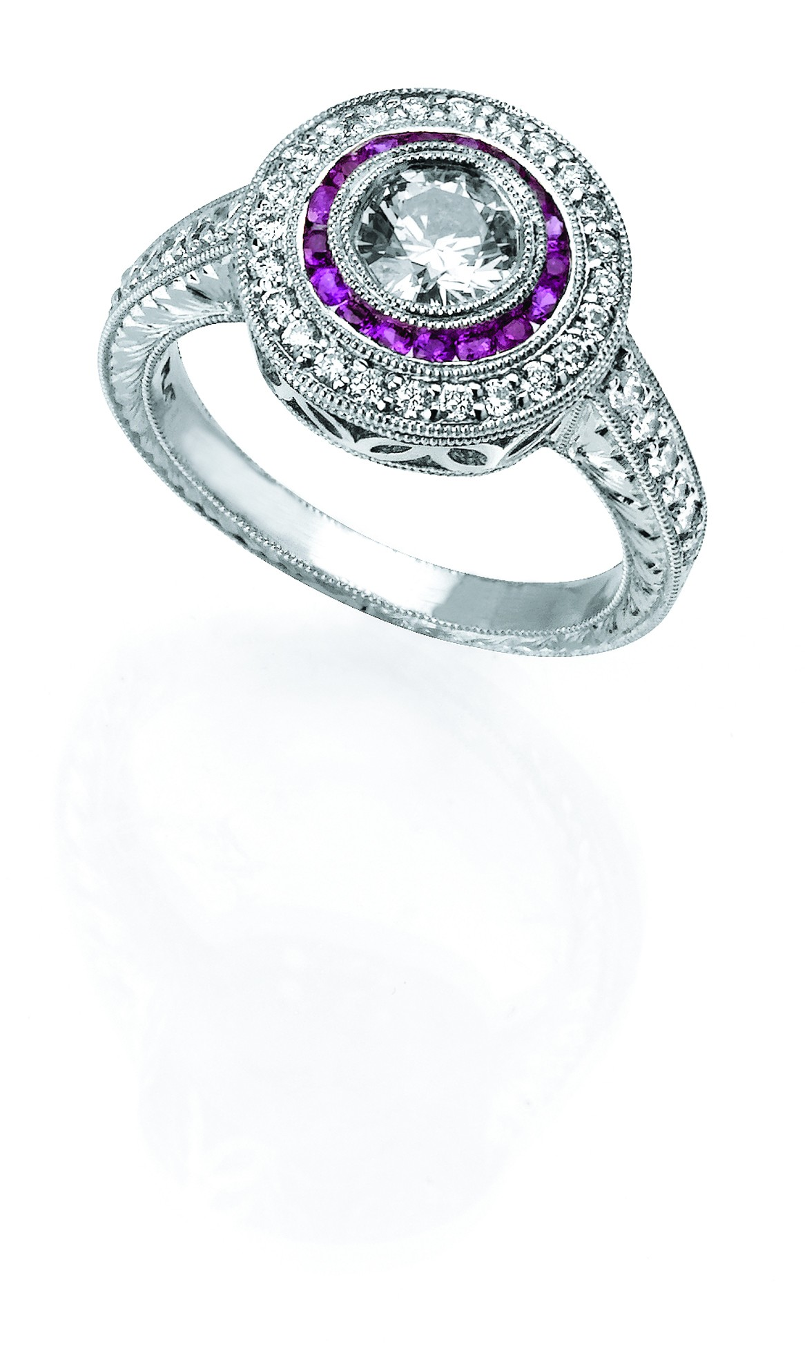 Platinum Diamond and Pink Sapphire Ring