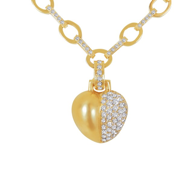 18K Yellow Gold diamond Heart Necklace