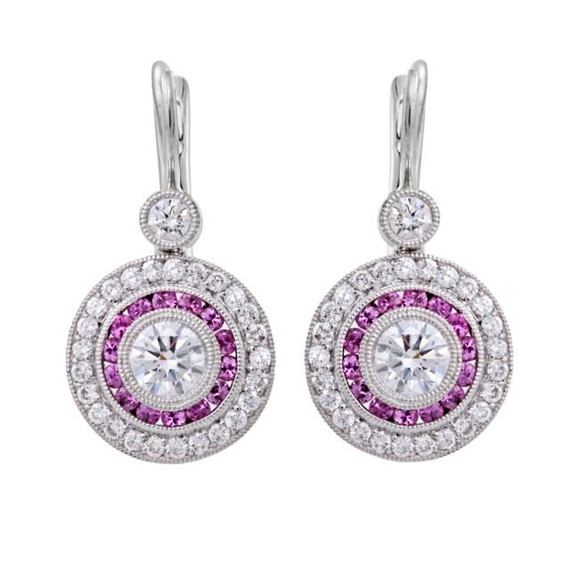 Platinum Diamond and Pink Sapphire Drop Earrings