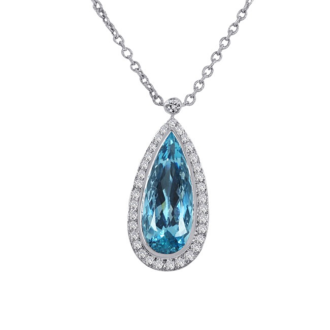 One of a Kind 18K White Gold Diamond and Aquamarine Necklace