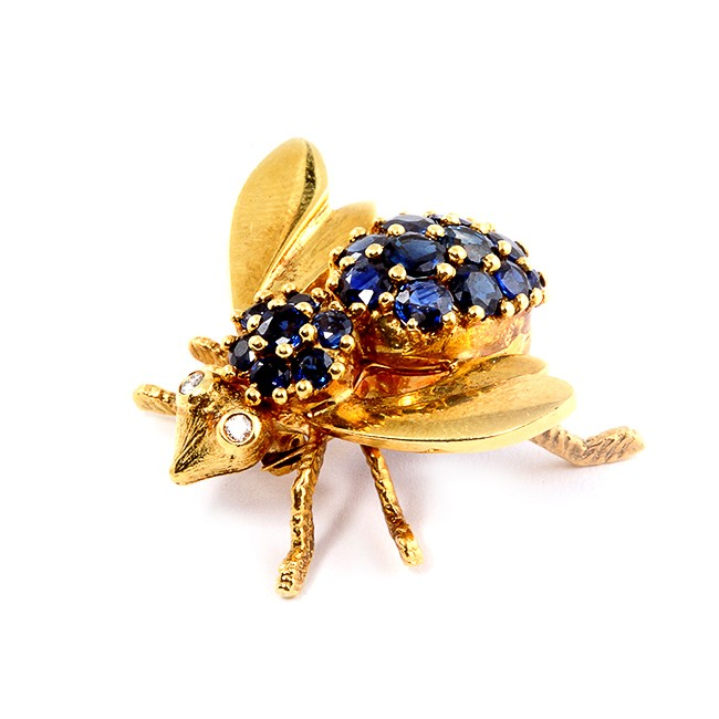Diamond and Sapphire Yellow Gold Bee Pendant