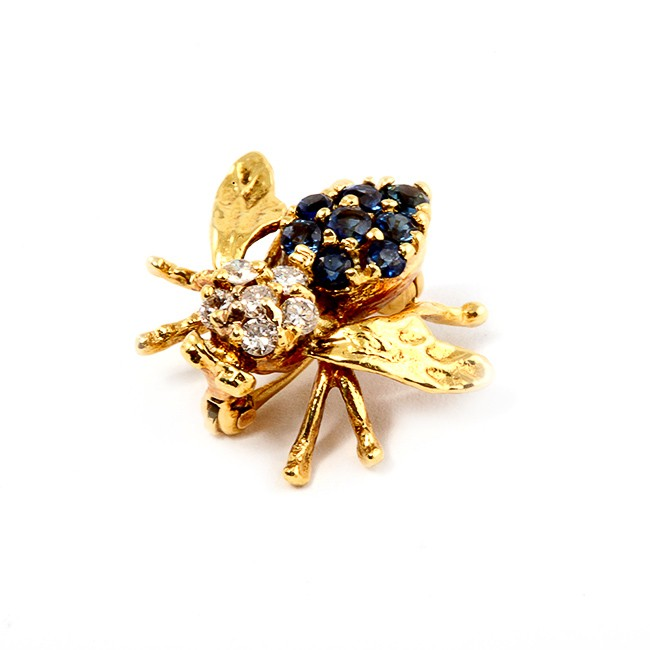 Yellow Gold Diamond and Sapphire Bee Pendant