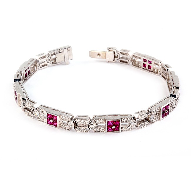 Handmade Platinum Ruby and Diamond Bracelet