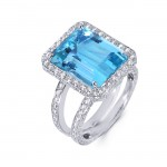 Diamond Aquamarine Ring