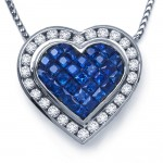 DIamond and Sapphire Heart Pendant