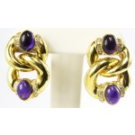 Yellow Gold Diamond and Amethyst Earrings