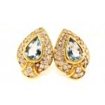 18K Yellow Gold Diamond and Aquamarine Earrings