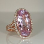 Kunzite diamond ring