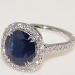 18 Karat White Gold Sapphire and Diamond Ring.