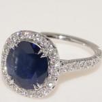 18 Karat White Gold Sapphire and Diamond Ring.