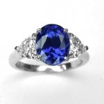 Platinum Sapphire and Diamond Ring.