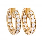 18K Yellow Gold Diamond Hoop Earrings