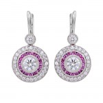 Platinum Diamond and Pink Sapphire Drop Earrings