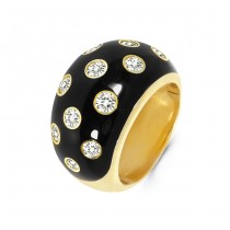 18K Yellow Gold Black Enamel Ring