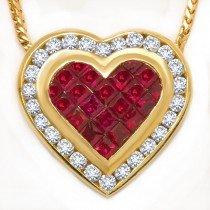 Ruby and Diamond Yellow Gold Heart Pendant