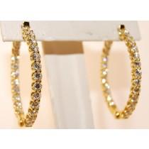 18K Yellow Gold Diamond Hoop Earrings