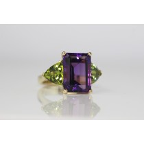 Hand made Amethyst and Peridot ring.