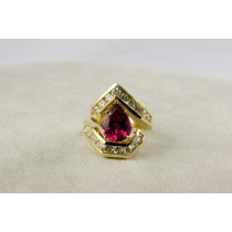 Yellow Gold Diamond and Rubelite  Ring