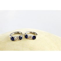 18K White Gold Diamond and Genuine Sapphire loop earrings