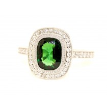 Platinum Tsavorite Diamond Ring