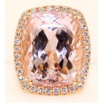 18K Rose Gold Diamond and Kunzite Pink Ring