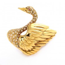 Yellow Gold Swan Pin