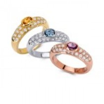 18k White,yellow and Rose Gold diamond pave semi-Precious Ring.