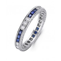Platinum and Diamond Sapphire Band