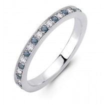 18K White Gold Diamond and Aquamarine Band